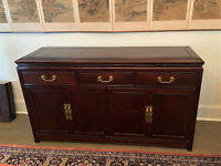 Vintage George Zee Chinese Rosewood Sideboard Buffet China Cabinet -   WE SHIP!