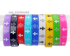 Wholesale Lots 50pcs Cross Pattern Silicone Rubber Elasticity Wristband Bracelet