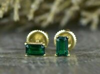 1.00 Ct Emerald Cut Green Emerald Four Prong Stud Earrings 9ct Yellow Gold Over