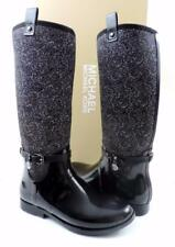 Women's Michael Kors CHARM STRETCH RAINBOOT Rubber Neoprene Black /White Size 10