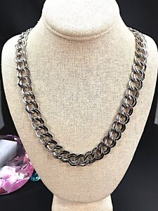 "CLASSIC 1960'S SIGNED MONET GLOSSY SILVER-TONE DOUBLE CIRCLE CHAIN 27"" NECKLACE"