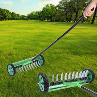 Rolling Lawn Aerator Cut Lawn Turf Dethatcher Thatching Rake Head Garden Tools