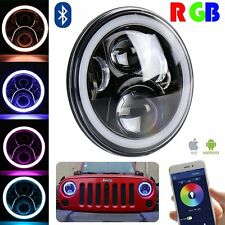 "Pair 7"" RGB Halo Ring Angel Eye DRL Led Headlights for Jeep Wrangler JK TJ LJ"