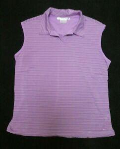 Nike Golf Dri-Fit women's pink/brown striped print stretch sleeveless shirt Sz L