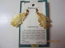 "Women's Vintage 24 Kt Gp Real Oak Leaf Earrings-2"" Long-Never Worn-Original Card"