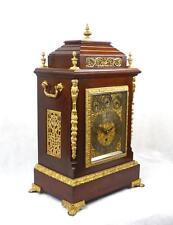 Huge 19thC Triple Fusee 8 bells 5 Gongs Mantel Table Clock