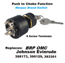 Ignition Key Switch with Push to Choke Replaces 388173, 390129, 393301 Marpac
