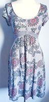 White Stuff Women's Dress Grey Pink Size 14 100% Cotton Floral Tie Back VGC