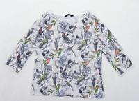 Dorothy Perkins Womens Size 10 Animal Print Grey Top (Regular)