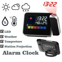 Weather LCD Digital LED Projection Clock Alarm Color Screen Snooze Calendar Time