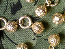 Vtg 20 BRIGHT GOLD FILIGREE METAL BALL DROP BEADS 10mm LIGHT WEIGHT  #080518t