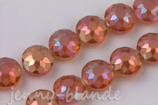 10pcs Orange Sunflower Faceted Crystal AB Glass Rondelle Spacer Bead 14x10mm