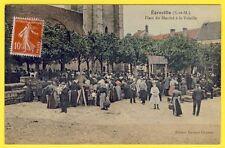 cpa Village d' ÉGREVILLE (Seine et Marne) Place du MARCHÉ à la VOLAILLE Animée