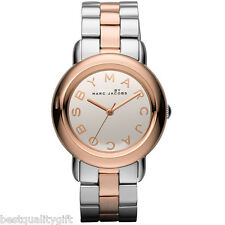 NEW MARC JACOBS MARCI TWO,2 TONE ROSE GOLD,SILVER,MIRROR DIAL WATCH-MBM3170+BOX