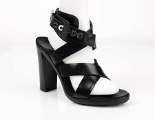 BALENCIAGA Black Leather Cross Strap Open Toe Buckle High Heels Sandals Size 41