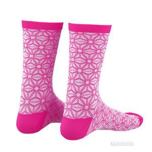 Supacaz SupaSox ASANOHA Tall Cycling Socks WHITE/NEON PINK - One Pair