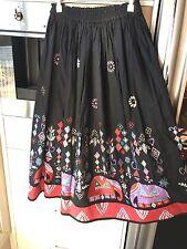 Vintage DG Sport Designer Skirt Boho Frida Embroidered Indian Elephants Mirrors