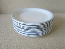 "12x Fire King Anchor Hocking ALICE Gray Blue Trim VITROCK 9.25"" Dinner Plates"