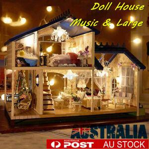 DIY Miniature Musical Dollhouse Kit Furniture LED Model House Christmas Gifts
