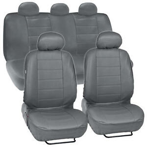 Gray Synthetic Leather Set Car Seat Cover Genuine Leather Feel Front & Rear Set