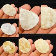 100% Natural White Sugar Druzy Agate Cabochon Gemstone NG3641-3653