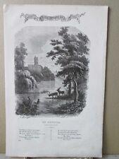 Vintage Print,LES SOUVENIRS,French Song+Music,1859