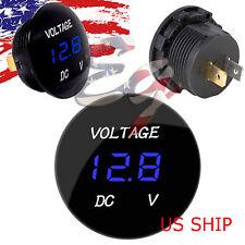 Blue LED Digital Waterproof Voltmeter A Gauge Meter 12V-24V Car Auto Motorcycle