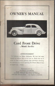 Cord 810 812 Owners manual Floyd Clymer REPRINT
