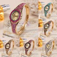 Women's Luxury Crystal Stainless Steel Band Gold Quartz Bracelet Wrist Watch Hot
