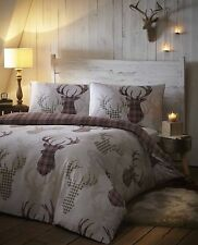 NATURAL WINE COUNTRY COTTAGE STAG HEAD TARTAN CHECK REVERSIBLE DUVET COVER SET