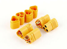 MT60 3 Pole Motor/ESC Connector Set in YELLOW 12AWG Male/Female - 60AMP -2 PAIRS