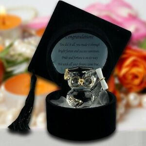 Graduation Gifts University College Degree Pass Present Crystal Owl in Black Hat