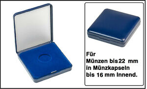Lindner 2029-022 Blue Plastic coin case With velour insert For Coins To 0 7/8in