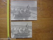 ANCIENNES PHOTOS couples riviere barque canots chapeaux BOURGEOISIE NOBLESSE
