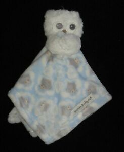 Blankets & Beyond Plush Owl Security Baby Lovey Blue White Gray