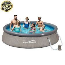 "Active Swimming Pool With Weave Wicker Exterior 12 Foot x 36"" Quick Set Ring"