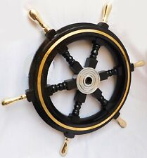 Attractive Wood & Brass Ship Wheel Nautical Maritime For Home Decoration