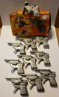 VINTAGE 1950s FACTORY CASE OF HAWK TOY PISTOLS 10 TOTAL