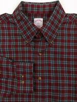 Brooks Brothers Men's Large Long Sleeve Shirt Red Plaid Non-Iron