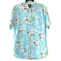 Quiksilver Mens Blue Rocket Cowgirl Hibiscus Short Sleeve Shirt Top Size Large