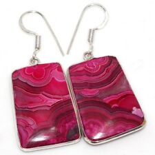 """Mexican Laguna Lace 925 Sterling Silver Plated Earrings 1.8"""" GW"""