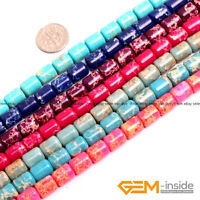 "Assorted Colors Sea Sediment Jasper Drum Barrel Beads For Jewelry Making 15"" YB"