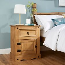 Home Source Corona Solid Pine Bedside Cabinet 1 Door 1 Drawer Night Stand Table