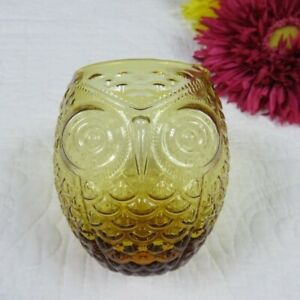 4 inch Amber Owl Drinking glass Set of 4