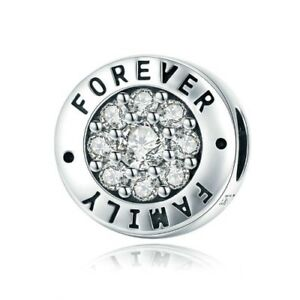 Stunning S925 Silver Dazzling Family Forever Charm With Cubic Zirconia Studs
