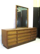 Striking Mid-Century Modern Walnut Dresser & Mirror; Near Mint Condition