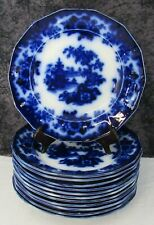 """12 Antique Staffordshire Flow Blue Hong Pattern Ironstone 9 1/4"""" Luncheon Plates"""