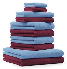 Betz lot de 10 serviettes Premium: rouge foncé & bleu clair, 100% coton