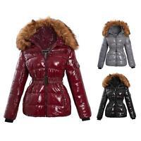 Shelikes Womens Wet Look Puffer Faux Fur Hood Winter Warm Coat Jacket Size