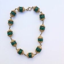 Retro Antique Germany Green Chrysoprase Ball Beads Gold Tone Filigree  Necklace
